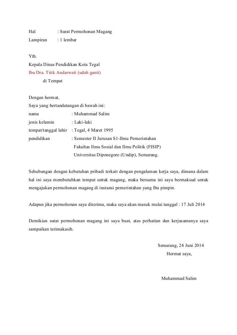 surat magang  pribadi