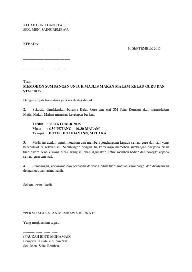 Surat Rasmi Memohon Bantuan Resepi Book C