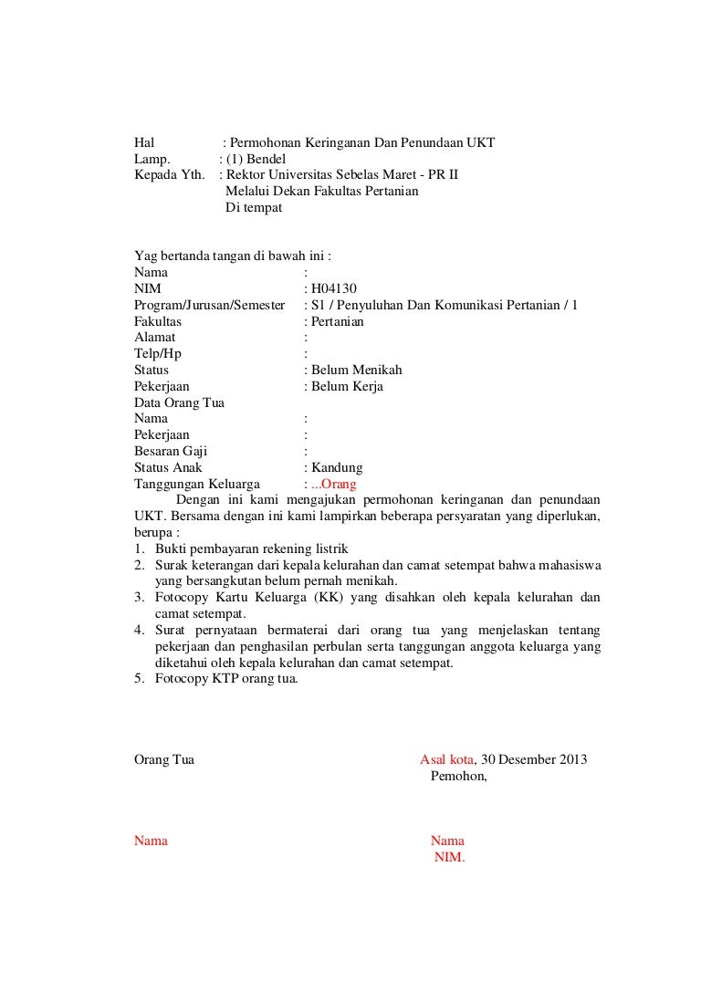 Surat Keringanan Kepada Pd 2
