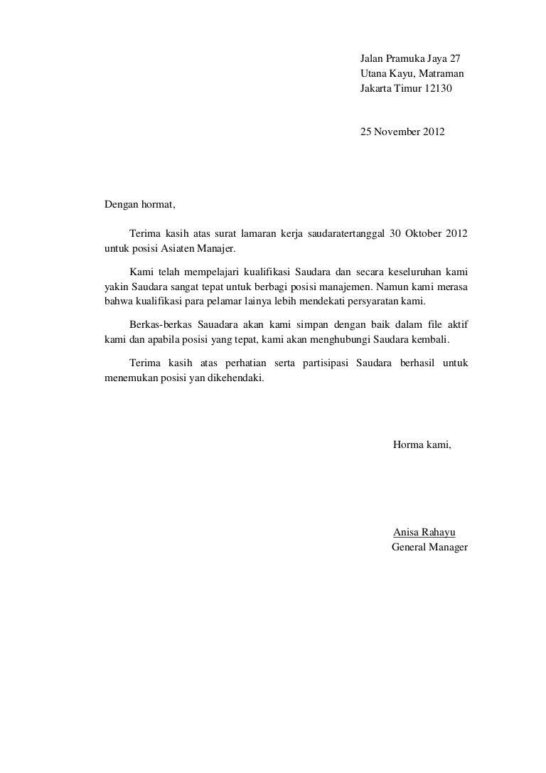 Surat Penolakan Lamaran Kerja Bindo Dan Bing