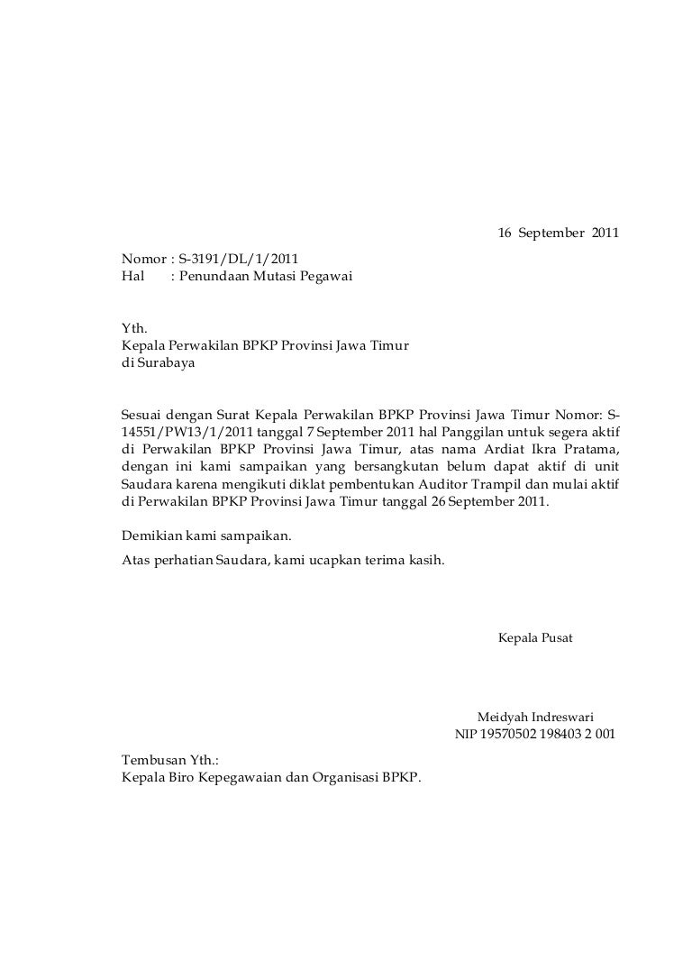 Surat Penundaan Di Unit Baru