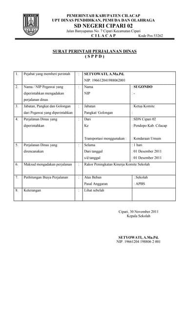 Surat Perintah Perjalanan Dinas Pns