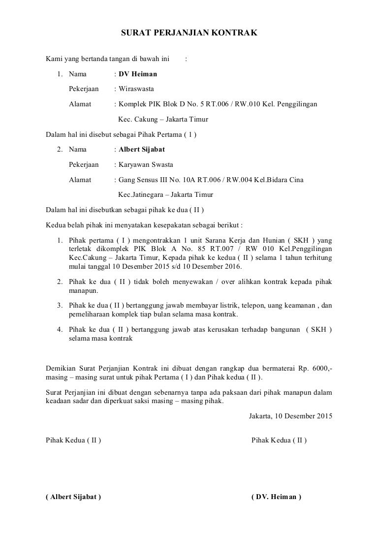 Contoh - Surat perjanjian kontrak bangunan