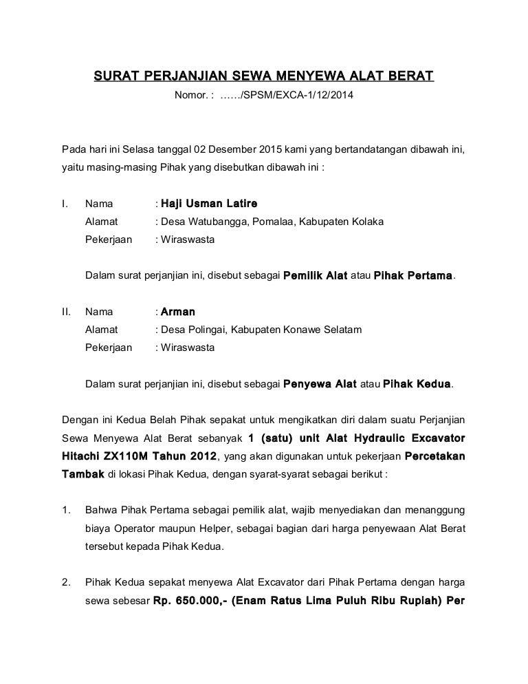 Contoh Surat Perjanjian Sewa Alat Berat Doc Contoh Seputar Surat