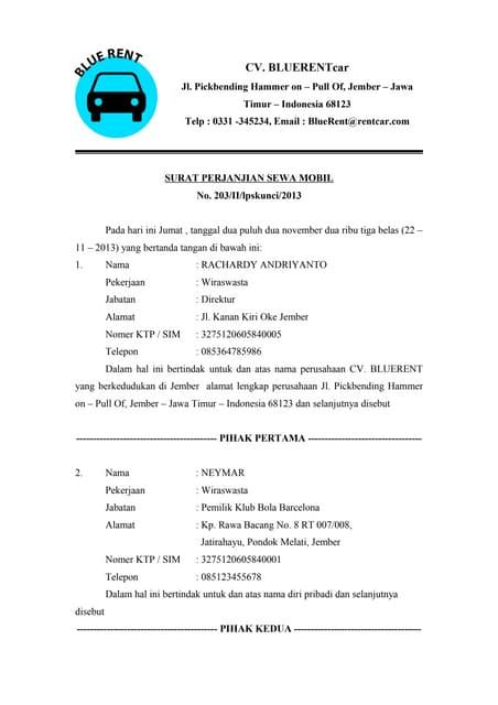 Contoh Surat Rental Mobil