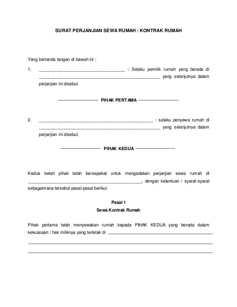 Surat Perjanjian Sewa Rumah