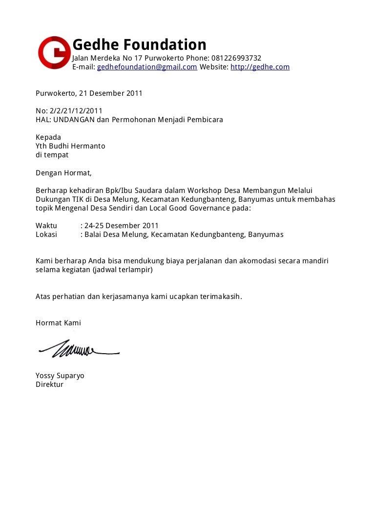 Surat permohonan Lokakarya Desa untuk Budhi Hermanto