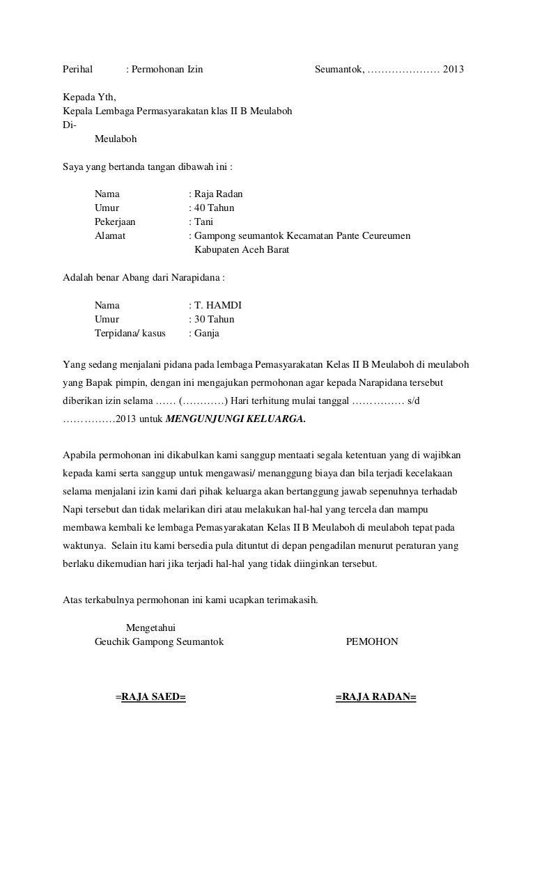 Surat Permohonan Keluar Penjara