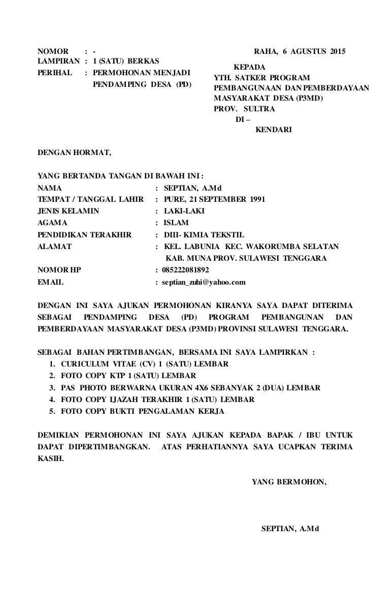 Surat permohonan kerja ...........pendamping desa