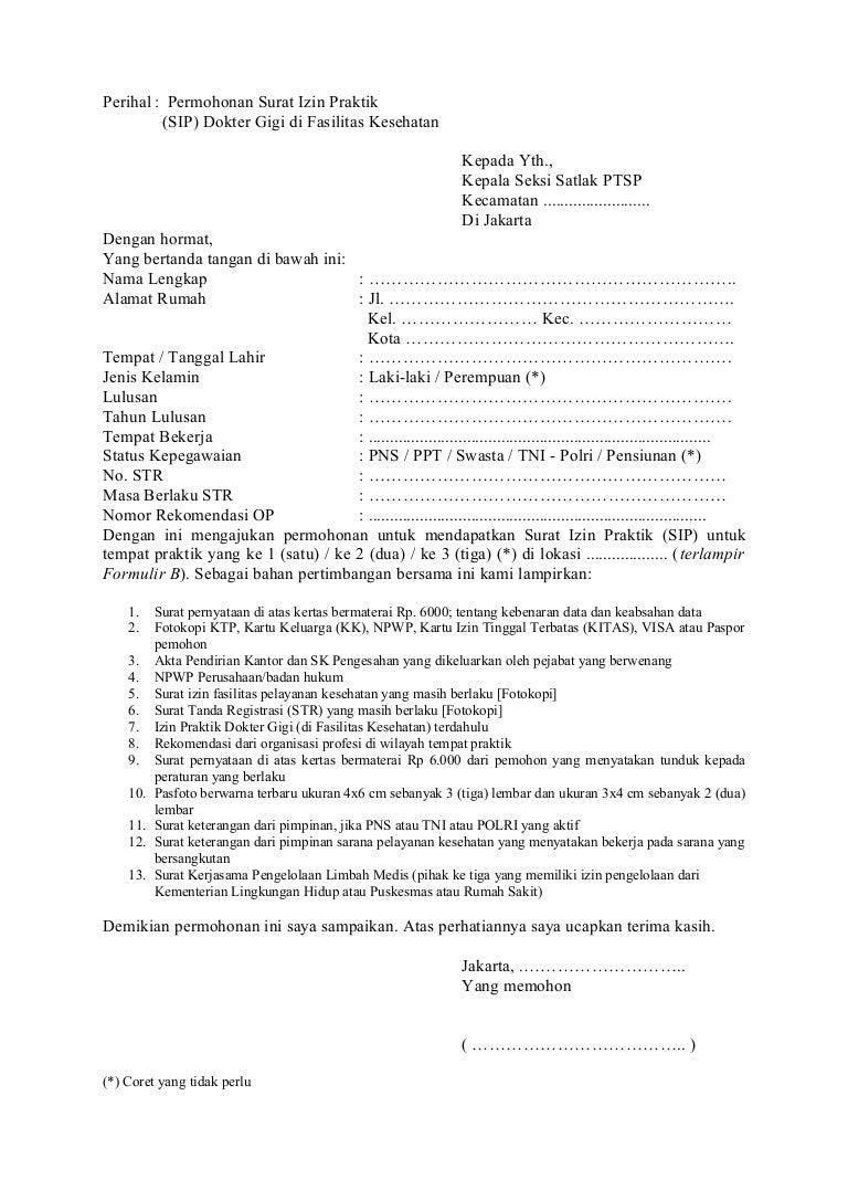 Surat Permohonan Sip Drg Umum