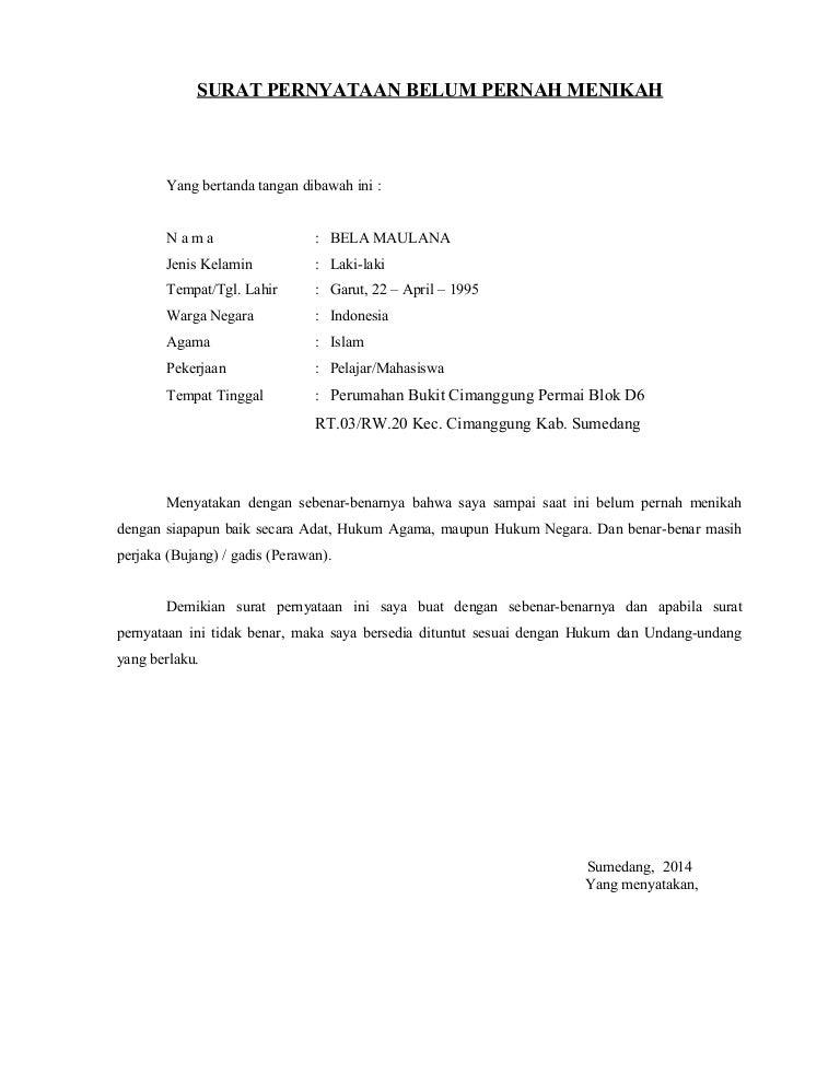 Surat Pernyataan Belum Menikah Rt Rw | Surat Contoh
