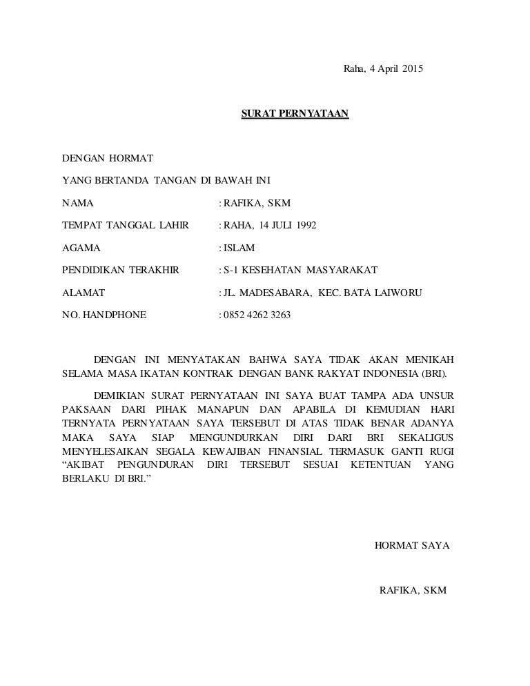 Surat Pernyataan Bri 1
