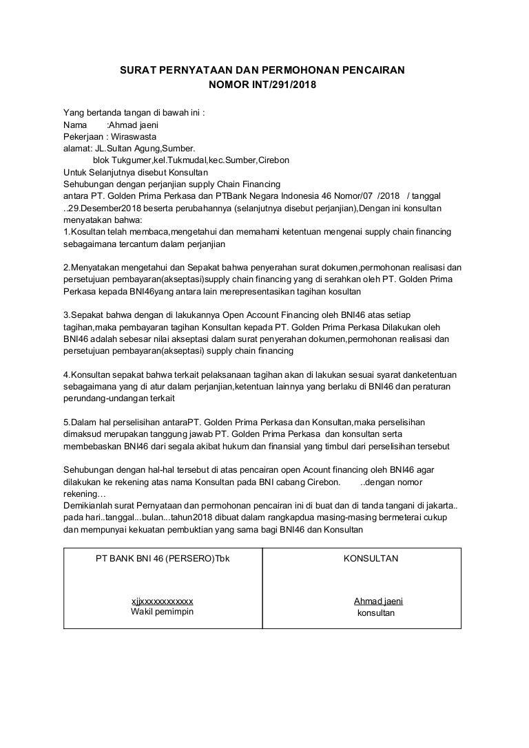 Surat Pernyataan Dan Permohonan Pencairan Pt Golden Prima Perkasa
