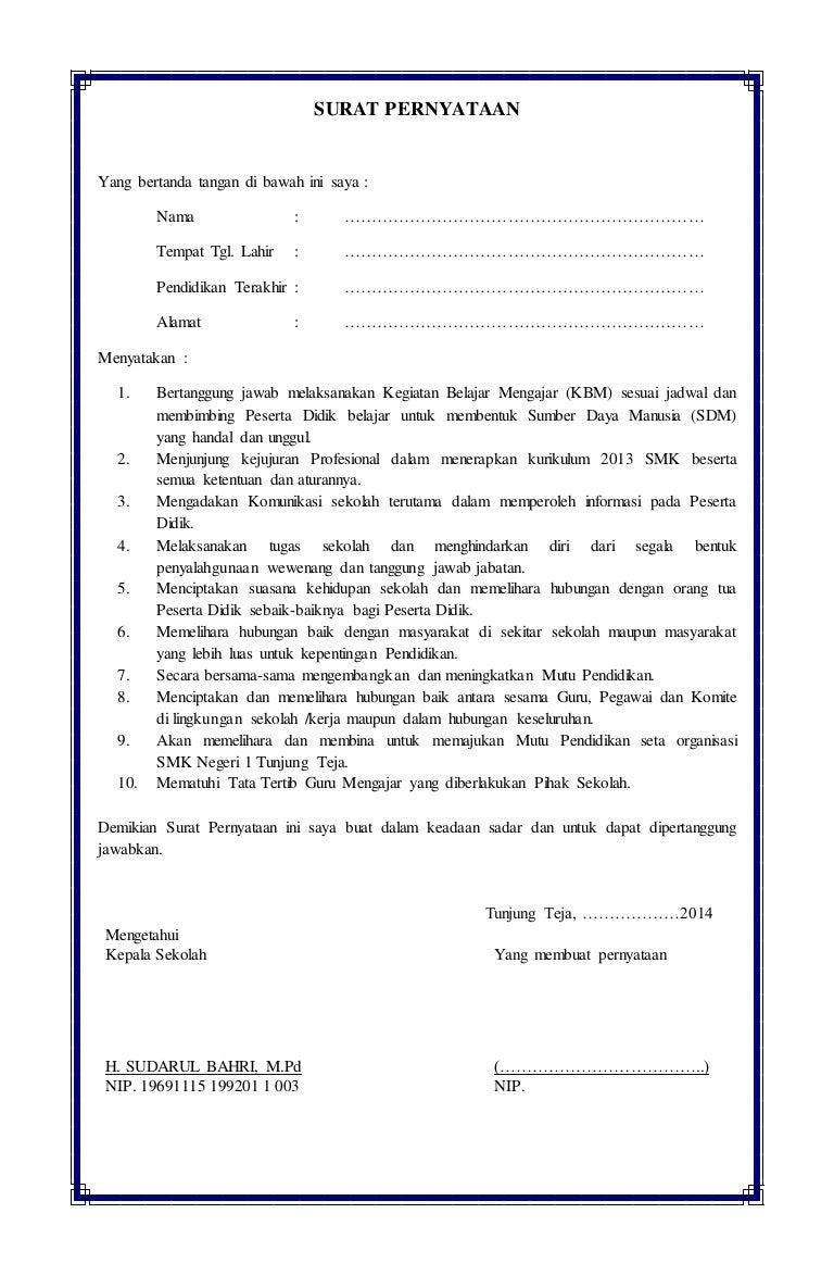 Surat Pernyataan Guru