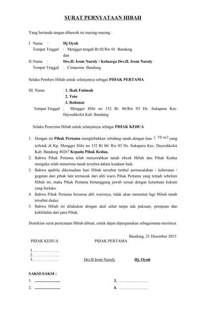 Surat Pernyataan Hibah Tanah