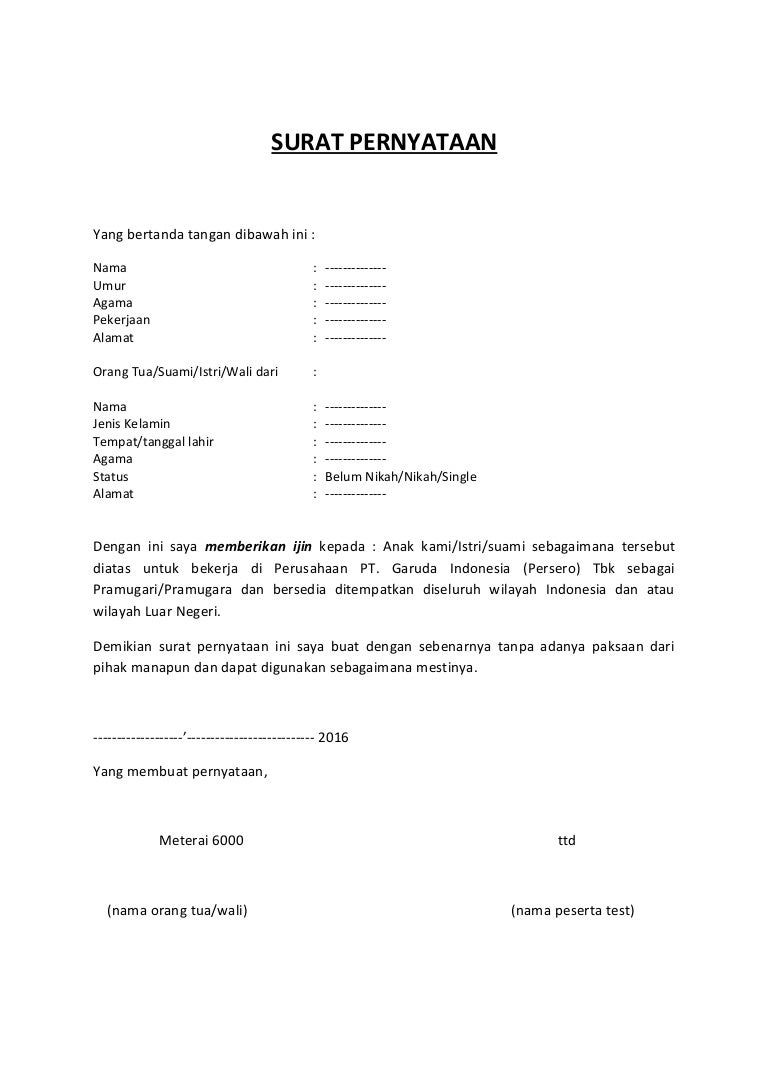 Surat Pernyataan Izin Orang Tuawalisuami
