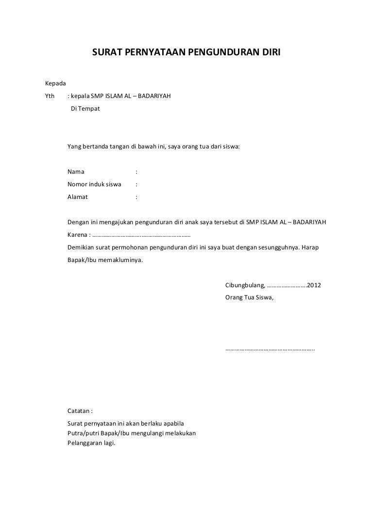 Contoh Surat Pengunduran Diri Dari Sekolah Sd