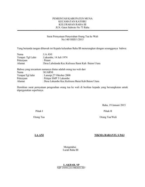Contoh Surat Pernyataan Adopsi Anak Detil Gambar Online