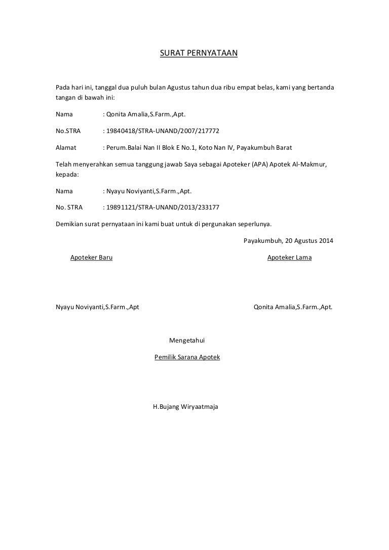 Surat Pernyataan Peralihan Tanggung Jawab