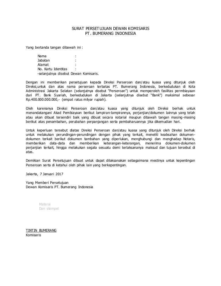 Surat Persetujuan Dewan Komisaris