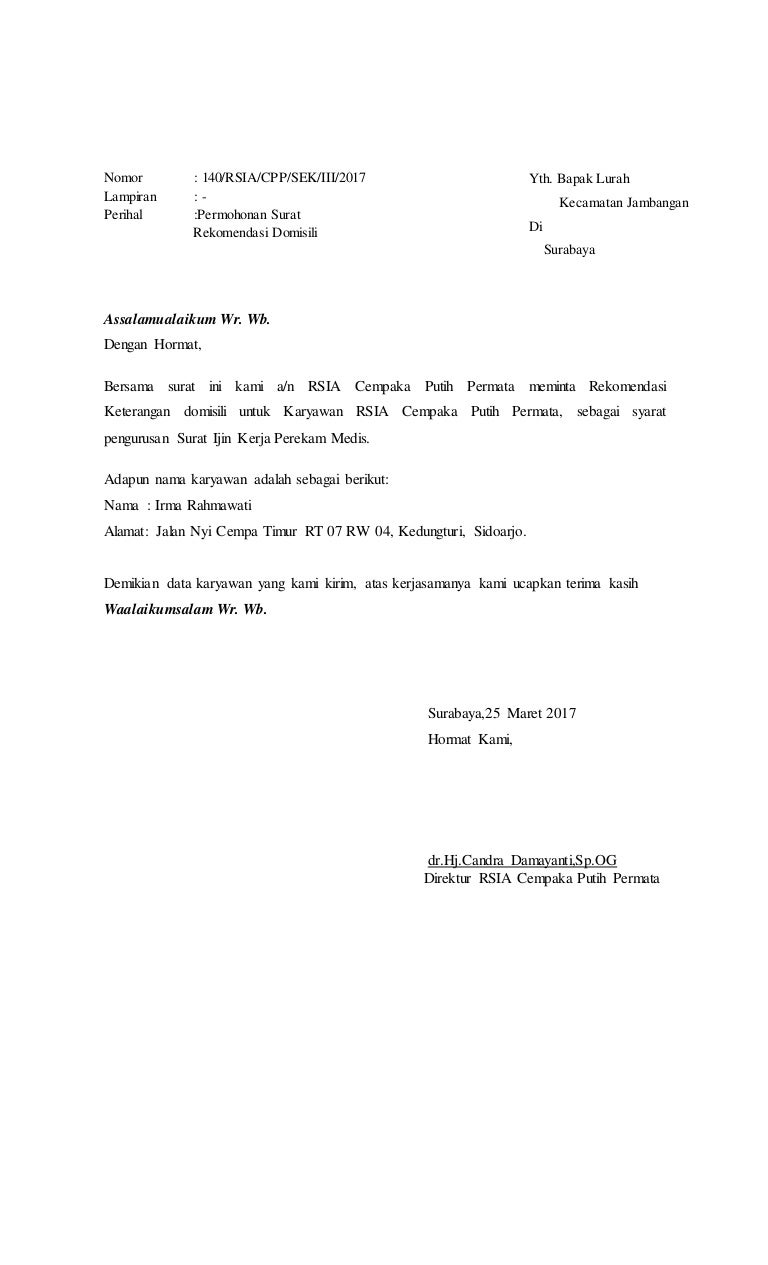 Contoh Surat Permohonan Domisili