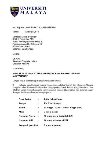 Surat Minta Tajaan Syarikat