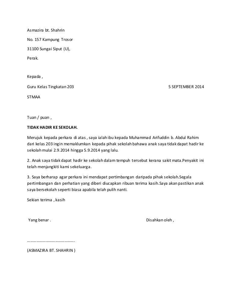 Surat tidak hadir sekolah