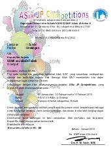 Surat Undangan Kejuaraan Futsal Smp Se Dki Jakarta