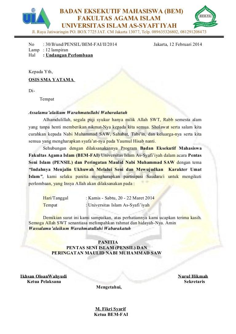 Undangan Lomba Pentas Seni Islam Bem Fai Universitas Islam As Syafi I