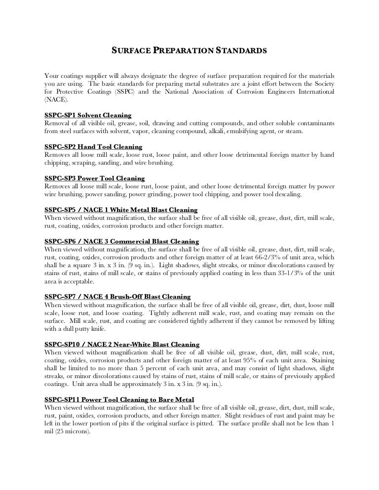 SP 5/NACE No. 1 White Metal Blast Cleaning