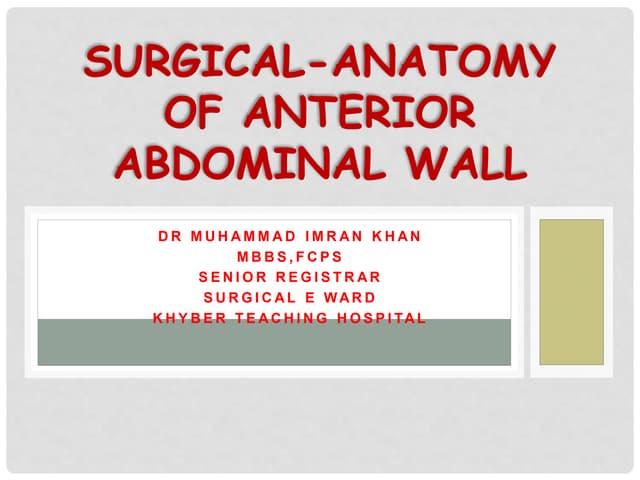 Surgical anatomy of abdomen