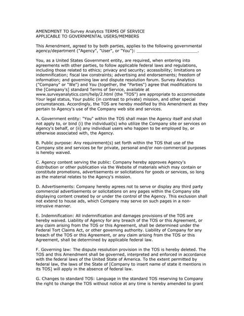 Survey Analytics Terms of Service (TOS) Amendment