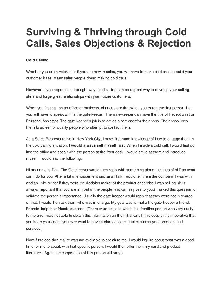 Surviving Thriving Through Cold Calls Sales Objections Rejection