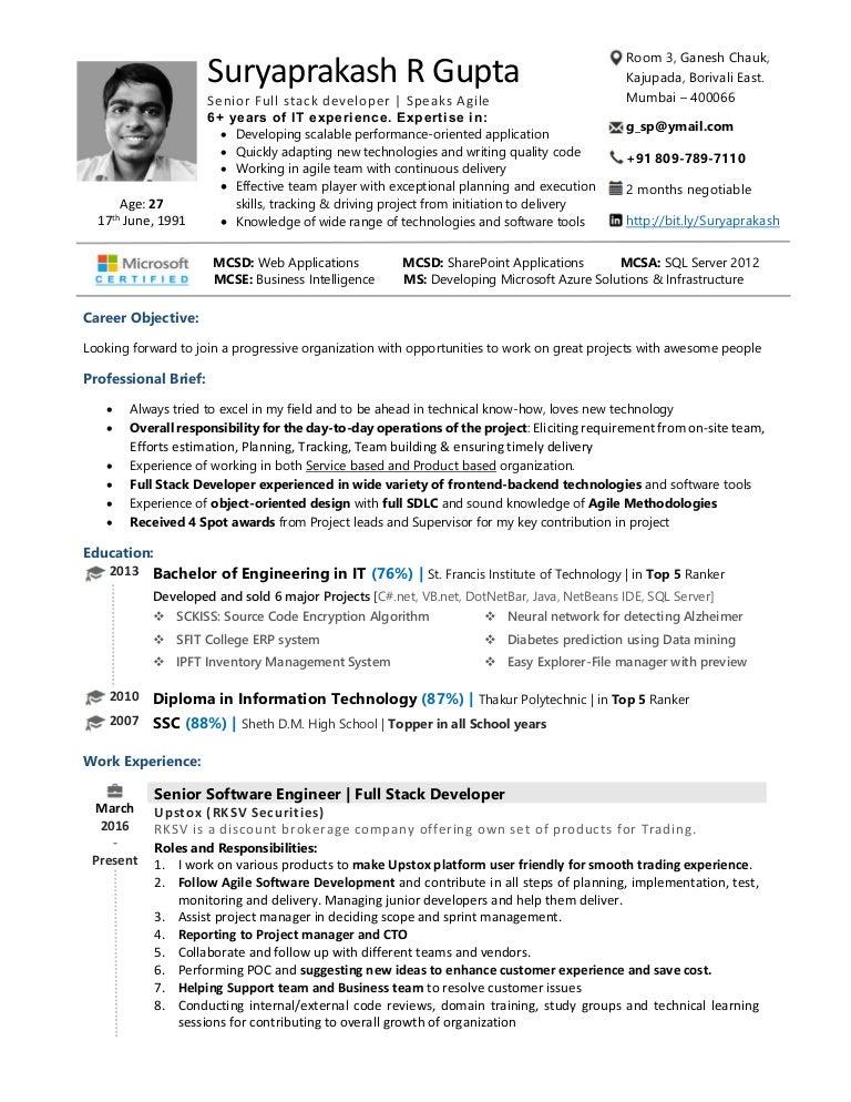 senior software engineer  senior full stack web developer resume