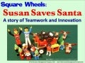 Susan and Santa speed Round Wheels Everywhere - a Square Wheels LEGO Story