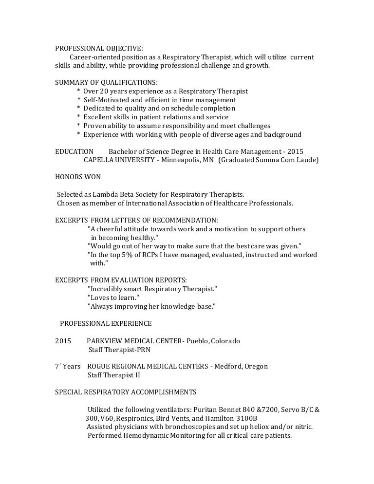 letter of recommendation for respiratory therapist - Elim ...