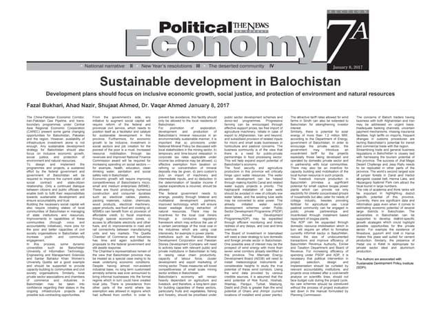 Sustainable Development in Balochistan