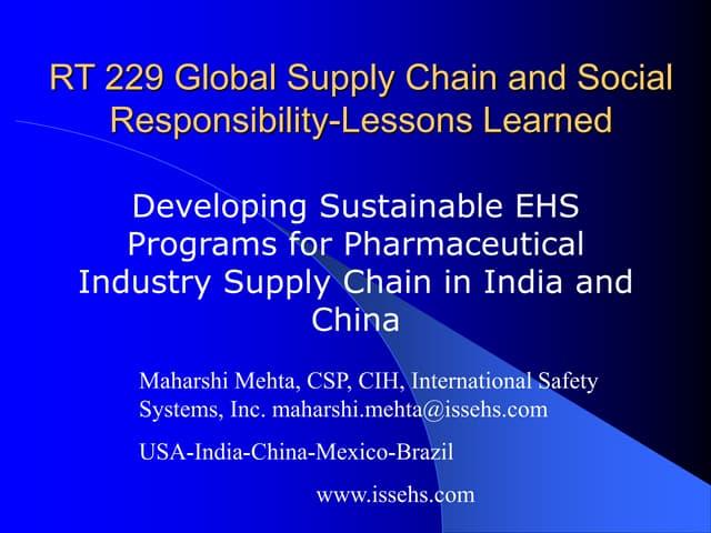 Sustainable EHS program at Pharma supply chain