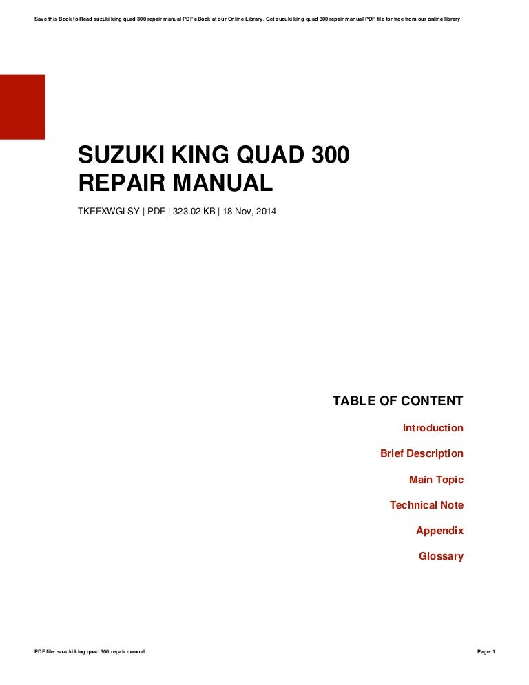 Suzuki atv lt 300 king quad 1999-2004 factory service repair manual.