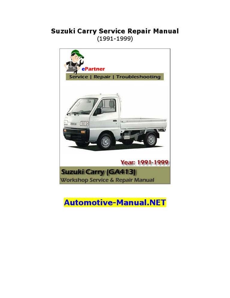 suzuki carry service repair manual 1991 1999 rh slideshare net suzuki carry workshop manual download suzuki carry 1.3 repair manual