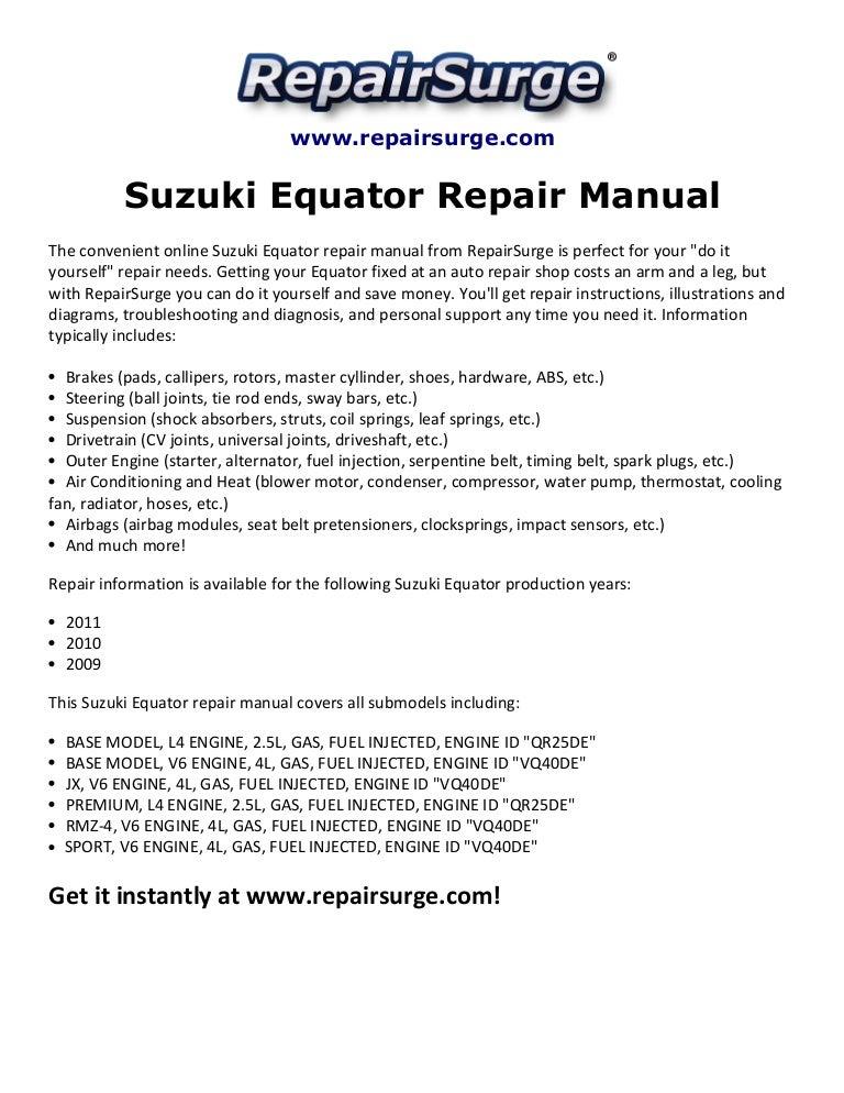 suzuki equator repair manual 2009 2011 rh slideshare net 2004 suzuki xl7 owners manual 2002 suzuki xl7 repair manual pdf