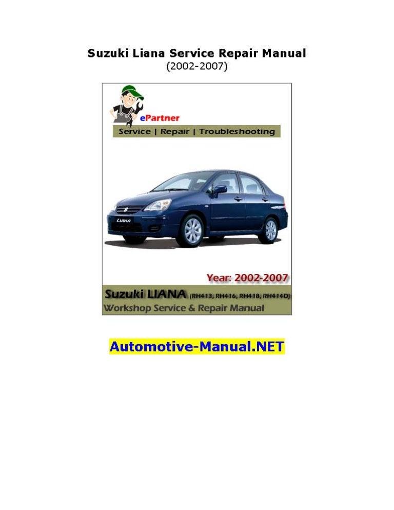 suzuki liana service repair manual 2002 2007 rh slideshare net 1989 Suzuki GS500E 1989 Suzuki GS500E