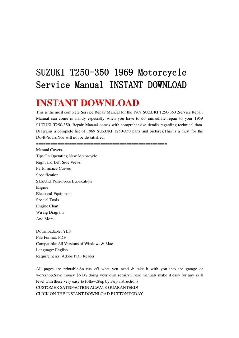 Suzuki T250 350 1969 Motorcycle Service Manual Instant Download Wiring Tools List Pdf Suzukit250 3501969motorcycleservicemanualinstantdownload 130430074752 Phpapp02 Thumbnail 4cb1367308110