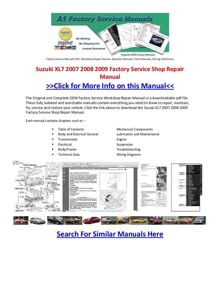suzuki xl7 2007 2008 2009 factory service shop repair manual rh slideshare net