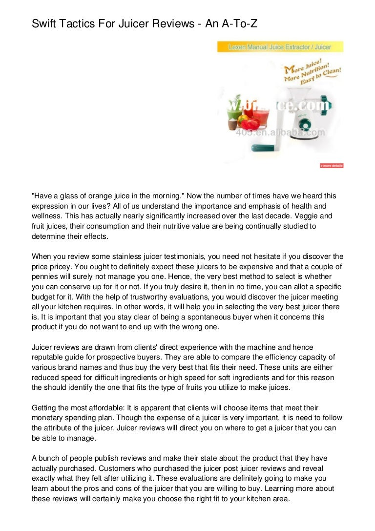 Swift Tactics For Juicer Reviews An A To Z
