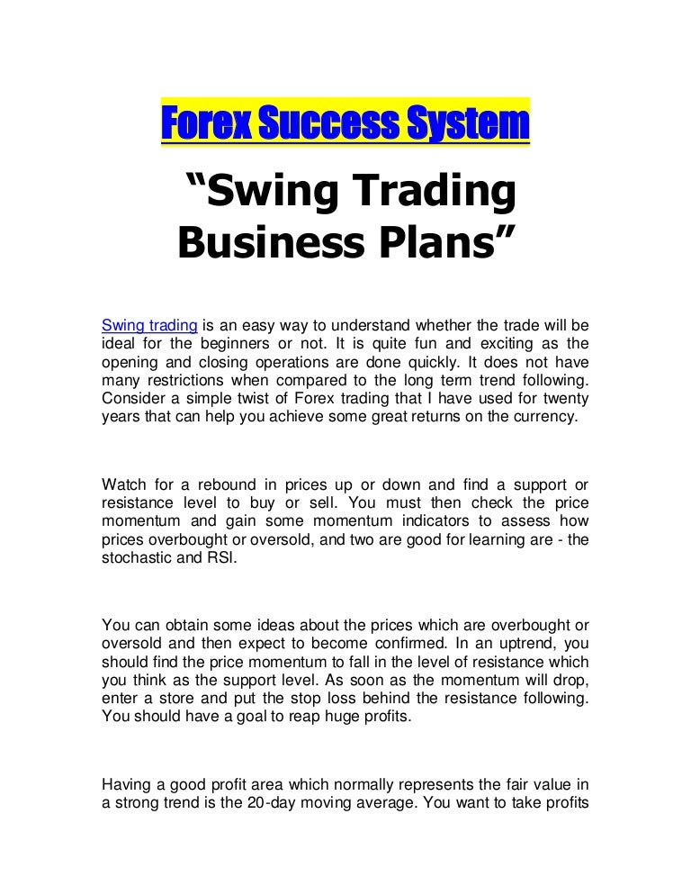 Swing trading business plans