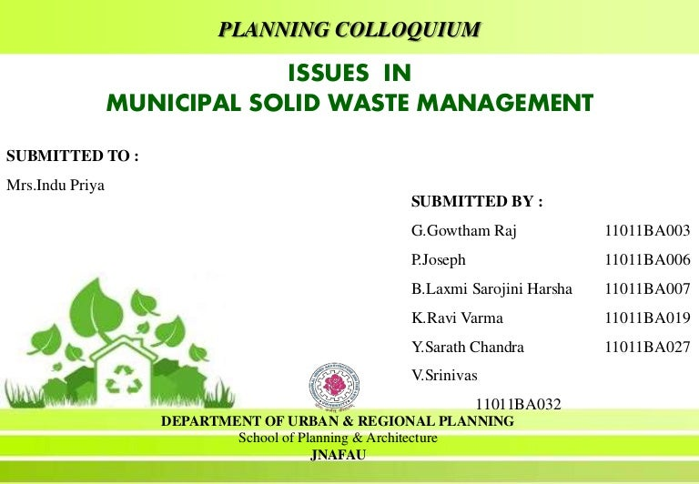 Municipal Solid Waste Management In India