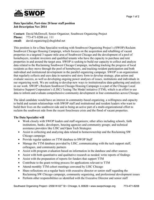 swop job description data specialist 2014 11 24 - Data Specialist Job Description
