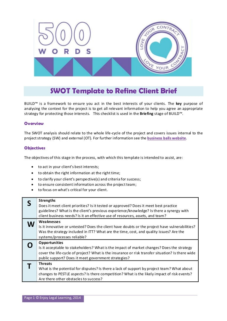 Swot Template For Construction Projects