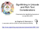 "SIGNWRITING SYMPOSIUM PRESENTATION 61: ""SignWriting in Unicode and Rich Text Considerations"" by Stephen E. Slevinski Jr."
